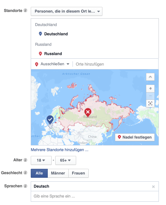 Facebook Powereditor Standort-Targeting
