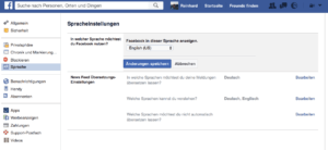 Facebook Sprache einstellen