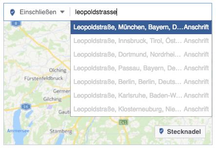 Lokale Facebook-Werbung: Adresse