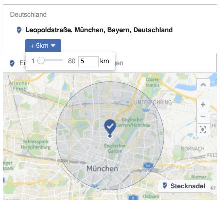 Lokale Facebook-Werbung: Radius