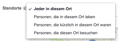Lokale Facebook-Werbung: Standorte