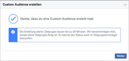 Facebook Custom Audiences Bestätigung Bestaetigung