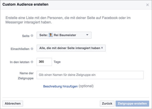 Facebook Custom Audiences Page Engagement