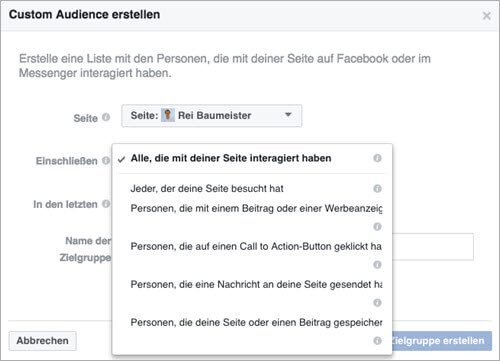Facebook Custom Audiences Varianten