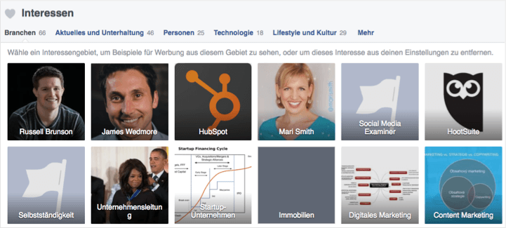 Facebook Interessen Targeting