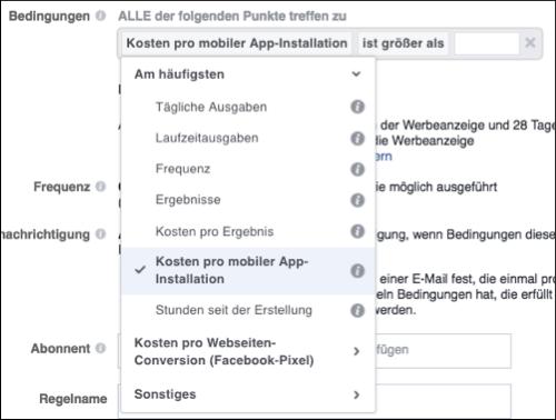 Facebook Automatische Regeln