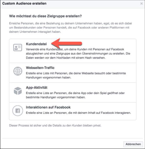 Kundendatei Facebook