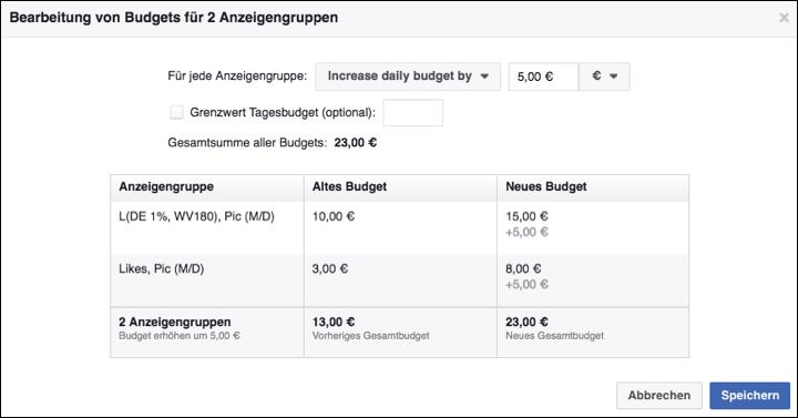 Facebook Budget bearbeiten