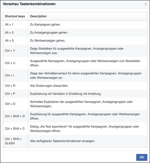 Facebook Tastenkombinationen