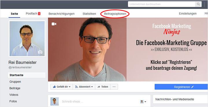Facebook Beitragsoptionen anzeigen