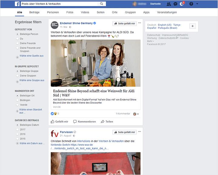 Suche Facebook Posts