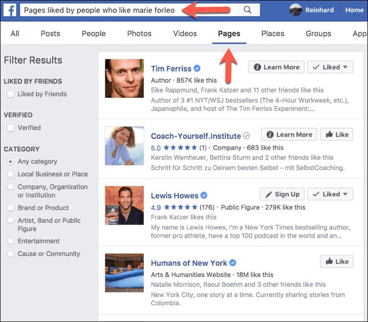 Facebook ähnliche Seiten