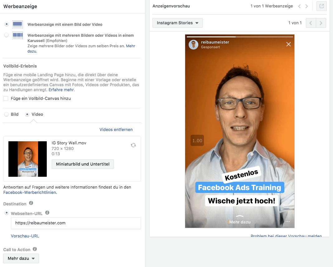 Facebook Anzeigenvorschau
