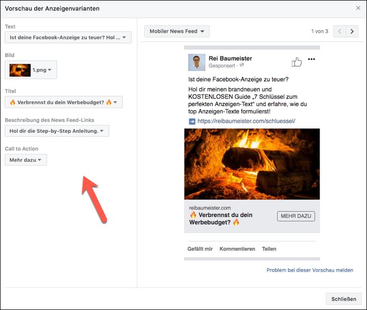 Facebook Anzeigenvarianten